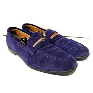 Robert Graham Blue Suede Leather Slip-On Loafers